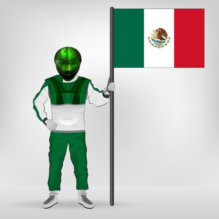 mexican flag: in piedi corridore tenendo messicano bandiera vector illustration