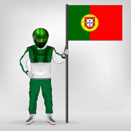 racer flag: standing racer holding Portuguese flag vector illustration