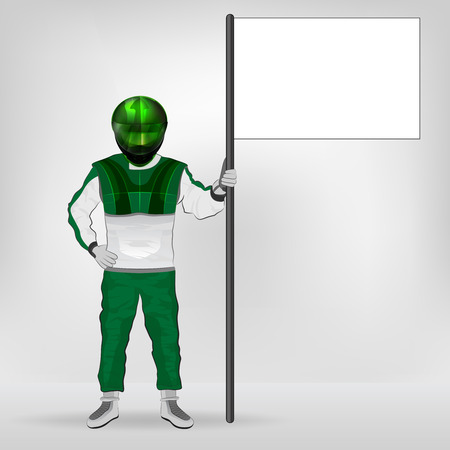 green overall standing racer holding empty flag vector illustration Vector