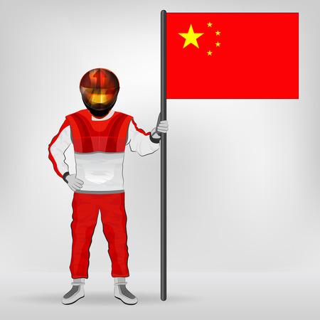 racer flag: standing racer holding Chinese flag vector illustration
