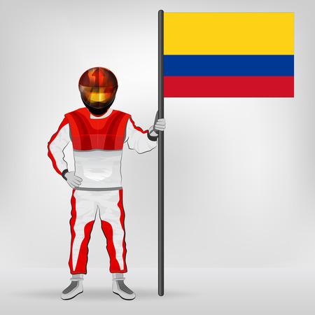 racer flag: standing racer holding Colombian flag vector illustration