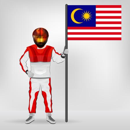 racer flag: standing racer holding Malaysia flag vector illustration