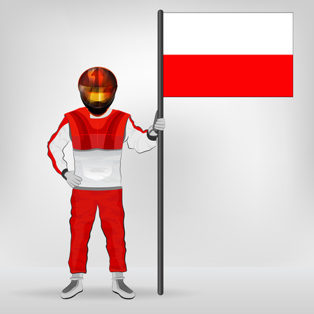 standing racer holding Polish flag vector illustration Illustration