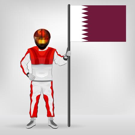 racer flag: standing racer holding Qatar flag vector illustration