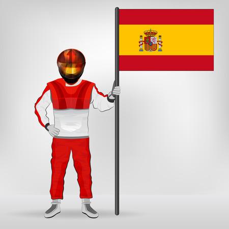 bandiera spagnola: in piedi pilota spagnolo che tiene bandiera vector illustration Vettoriali