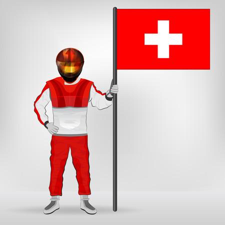 racer flag: standing racer holding Switzerland flag vector illustration