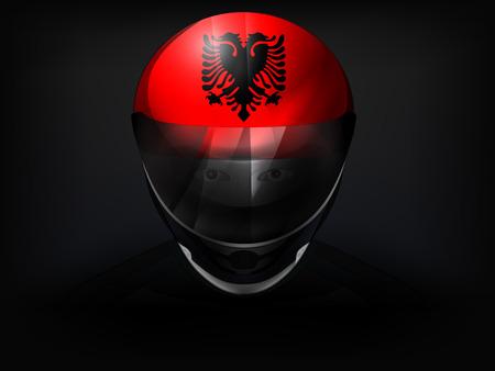 racer flag: Albanian racer with flag on helmet vector closeup illustration Illustration