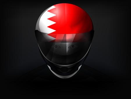 racer flag: Bahrain racer with flag on helmet vector closeup illustration
