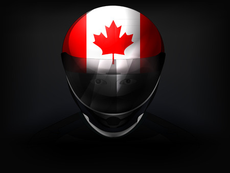 Canadian racer with flag on helmet vector closeup illustration Stock Vector - 29519809