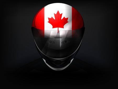 racer flag: Canadian racer with flag on helmet vector closeup illustration Illustration