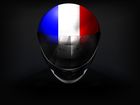 racer flag: French racer with flag on helmet vector closeup illustration