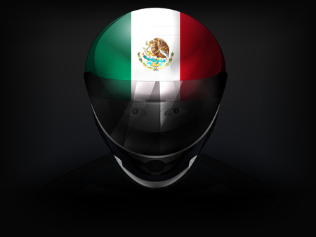 Mexican racer with flag on helmet vector closeup illustration Vector