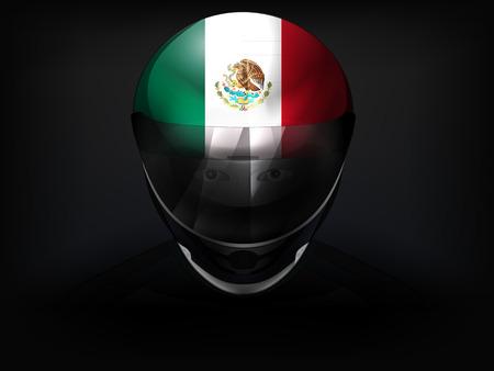 Mexican racer with flag on helmet vector closeup illustration Vector