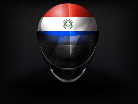 racer flag: Paraguayan racer with flag on helmet vector closeup illustration Illustration