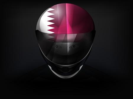 racer flag: Qatar racer with flag on helmet vector closeup illustration