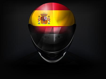 racer flag: Spanish racer with flag on helmet vector closeup illustration