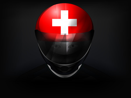 swiss flag: Swiss racer with flag on helmet vector closeup illustration