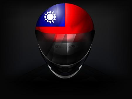 racer flag: Taiwan racer with flag on helmet vector closeup illustration Illustration