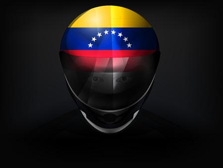 venezuelan: Corredor venezolano con la bandera en vector del casco de cerca ilustraci�n