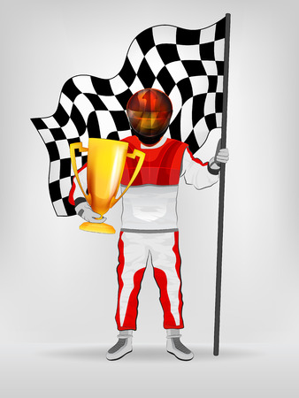 racer flag: racer in red overall holding checked flag and cup with helmet vector illustration