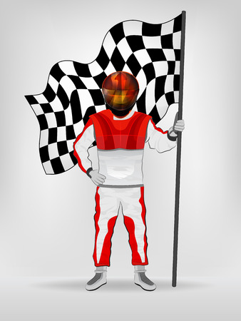 checked flag: racer in red overall holding checked flag in helmet vector illustration