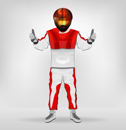 standing racer in helmet with thumbs up vector illustration