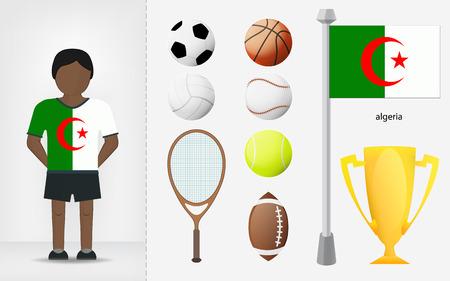 Algierski: Algierczyk sportowiec z kolekcji sprzętu sportowego ilustracji wektorowych
