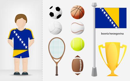 bosnian: Bosnian sportsman with sport equipment collection vector illustrations