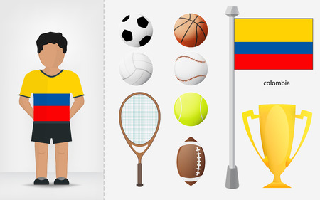 colombian: Colombian sportsman with sport equipment collection vector illustrations