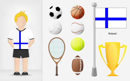 finnish: Finnish sportsman with sport equipment collection vector illustrations
