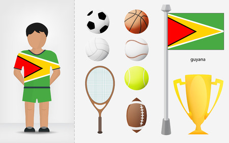 guyanese: Guyanese sportsman with sport equipment collection vector illustrations