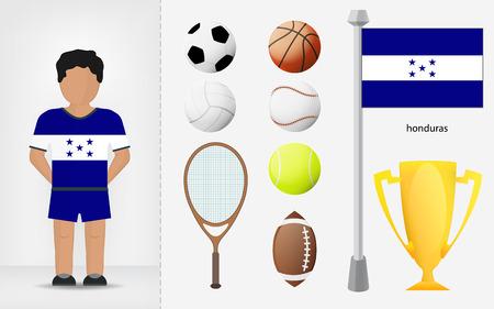 Honduran sportsman with sport equipment collection vector illustrations Vector