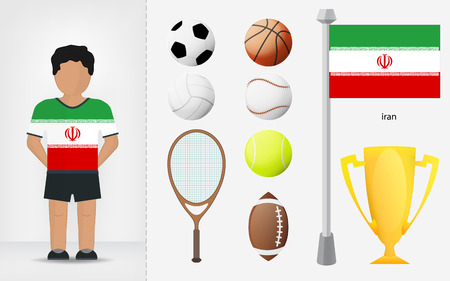 iranian: Iranian sportsman with sport equipment collection vector illustrations Illustration