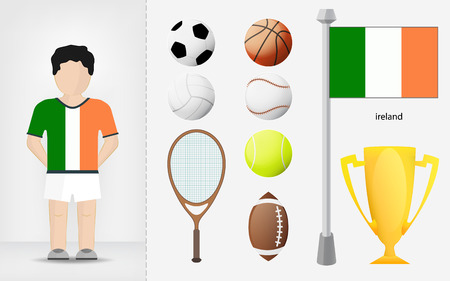 Irish sportsman with sport equipment collection vector illustrations Vector