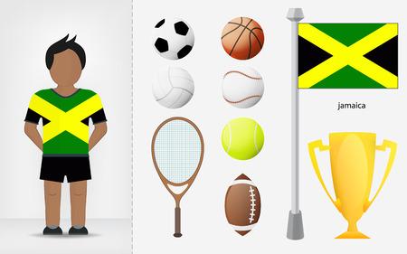 jamaican: Deportista jamaicano con recogida de material deportivo ilustraciones vectoriales