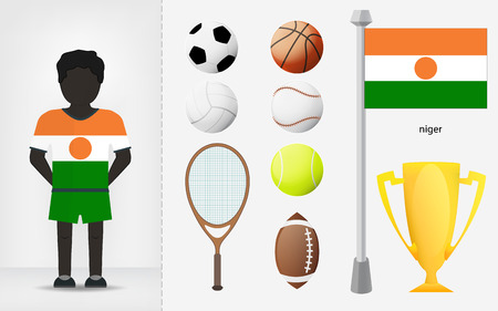 niger: Niger sportsman with sport equipment collection vector illustrations