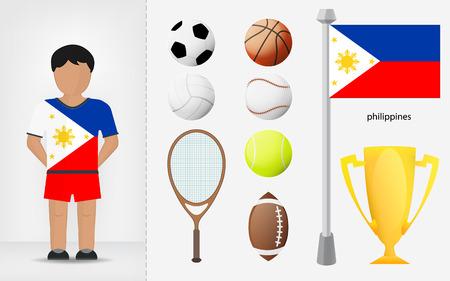 filipino: Filipino sportsman with sport equipment collection vector illustrations