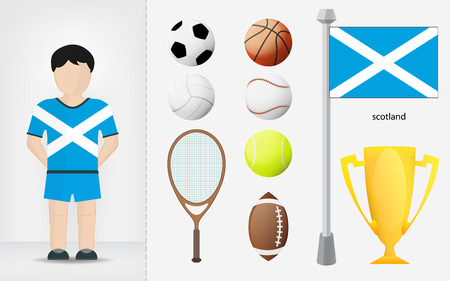 scotch: Scotch sportsman with sport equipment collection vector illustrations