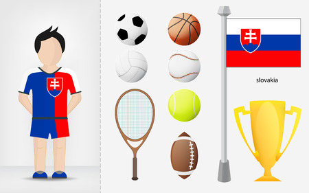 slovakian: Slovakian sportsman with sport equipment collection vector illustrations