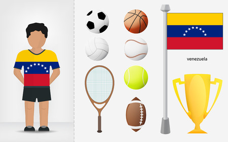 venezuelan: Venezuelan sportsman with sport equipment collection vector illustrations Illustration