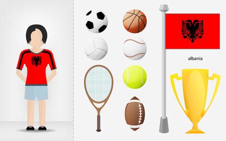 sportswoman: Albanian sportswoman with sport equipment collection vector illustrations