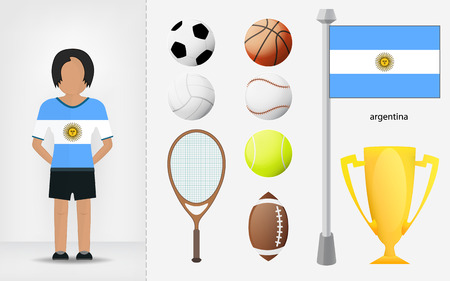 Argentine sportswoman with sport equipment collection vector illustrations Vector