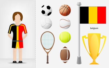 sportswoman: Belgian sportswoman with sport equipment collection vector illustrations Illustration