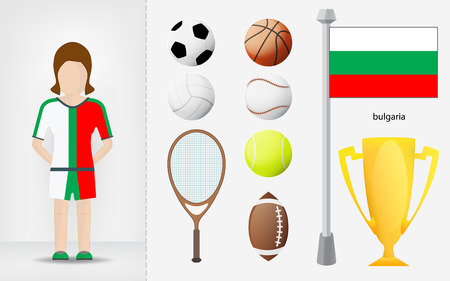 Bulgarian sportswoman with sport equipment collection vector illustrations Vector