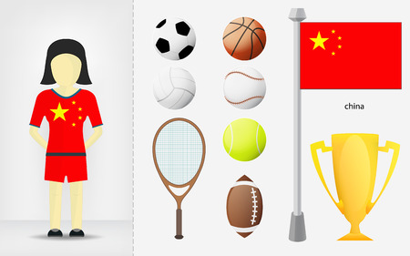 sportswoman: Chinese sportswoman with sport equipment collection vector illustrations Illustration