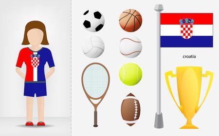 sportswoman: Croatian sportswoman with sport equipment collection vector illustrations