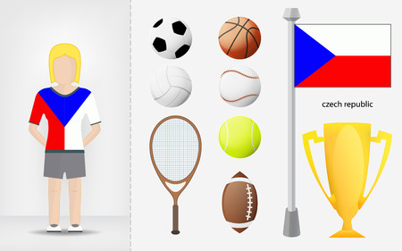 sportswoman: Czech sportswoman with sport equipment collection vector illustrations Illustration