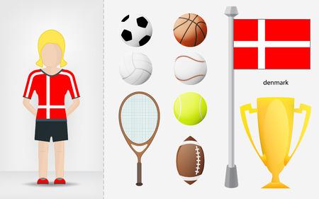 sportswoman: Danish sportswoman with sport equipment collection vector illustrations Illustration