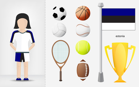 sportswoman: Estonian sportswoman with sport equipment collection vector illustrations Illustration