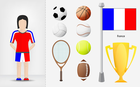 sportswoman: French sportswoman with sport equipment collection vector illustrations